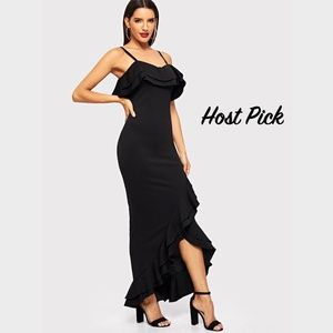 Ruffle Trim Asymmetric Hem Cami Maxi Dress Slit